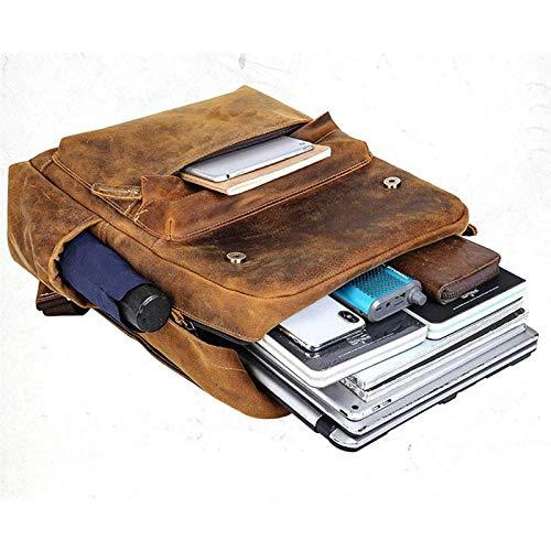SULUO Retro 16 Pulgadas de Cuero Hombres Mochila Gran Capacidad portátil Mochila Bolsa de Escuela Bolsas de Hombro Masculino Backpacks de Viaje de Cuero marrón,A
