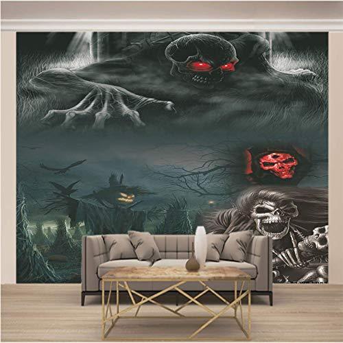 Msrahves Fotomural Vinilo Horror humo esqueleto reina grande Mural TV Fondo Papel de pared Sala de estar Sofá Dormitorio Papel tapiz Papel pintado creativo moderno tejido no tejido