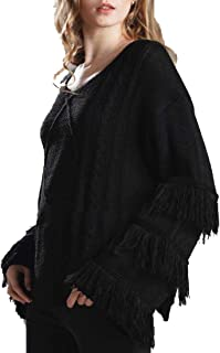 Womens Casual Long Sleeve V Neck Tassel Bell Kimono Cable Knit Jumper Pullover Sweater
