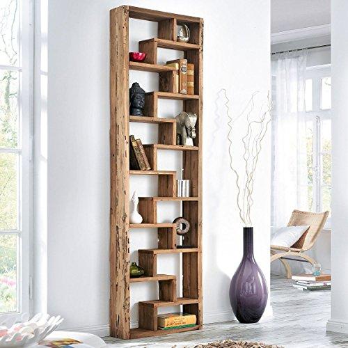 Pureday Raumteiler Woody - Standregal - Recyceltes Teakholz - Natur - klein