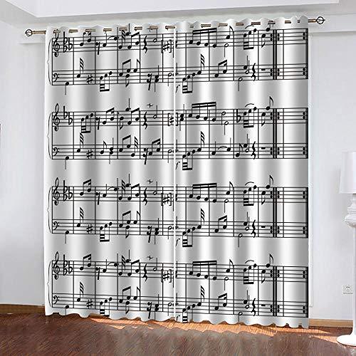 LOVEKKK Cortinas Opacas Patrón de Nota Musical Cortinas Dormitorio Moderno para Habitacion Aislamiento Térmico con Ojales 2 Pieza 140x175cm(An x Al)