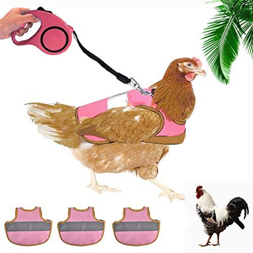 EnweHiko Hühnergeschirr mit 500 cm Langer Leine, Verstellbar, komfortabel, Starke Reflexnähte der Trainingsleine, Atmungsaktivem Haustiergeschirr für Hühnerhennen-3pcs