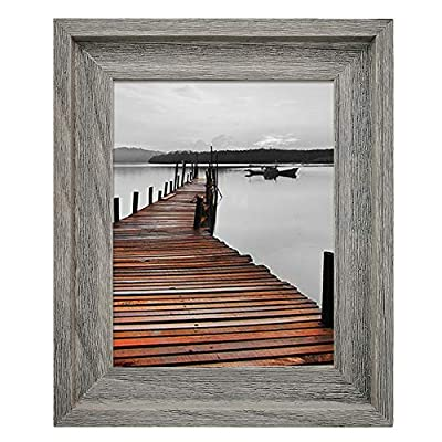 EosGlac Rustic 8x10 Picture Frame, Solid Wood with Glass Front, Wall Mounting or Tabletop, Weathered Grey
