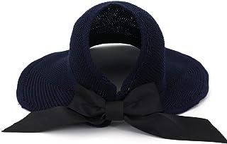 ZOO 大きなアクセントボウタイ付き女性用ヴィンテージ折りたたみ式帽子 (色 : 青)