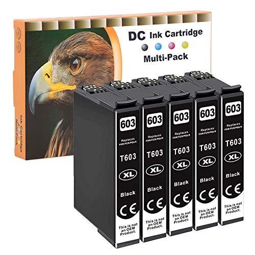 D&C 5x Cartucce d'inchiostro Nero compatibili con Epson 603 XL per Epson Expression Home XP-2100 Series XP-2105 XP-3100 XP-3105 XP-4100 XP-4105 Epson WorkForce WF-2810DWF WF-2830DWF WF-2835DWF WF-2850