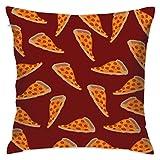 Delicious Pizza - Funda de cojín de poliéster cuadrada, respetuosa con el medio ambiente, decoración para el hogar, sofá cama de 18 x 18 pulgadas
