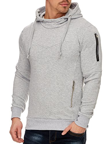 Tazzio Herren Styler Sweatshirt mit Kapuze Pullover Hoodie 1225 Grau S