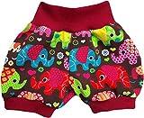 simply-sweet-baby Kurze Babyhose Pumphose Shorts Bunte Elefanten braun mit rotem Bündchen (80)