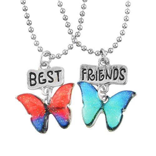 MJARTORIA Damen Mädchen Jungen Halskette Silber Farbe Essen Regenbogen Schmetterling Eule Schmuck Anhänger mit Gravur Freundschaftsketten 2 Stück (Orange Blauer Schmetterling)