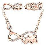 Yumilok collier femme, boucles d'oreilles femme, ensemble de bijoux, collier pendentif et boucle d'oreille symbole d'infini chiot mignon, collier et clou d'oreille en argent 925, zircon incrusté