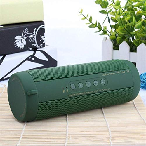 Dpliu Altavoz Bluetooth Bluetooth Música Bass Altavoz Impermeable Al Aire Libre LED LED de la Columna inalámbrica Soporte de Altavoz TF Tarjeta FM Radio AUX Entrada (Color: Ejército Verde)