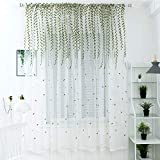 78 in curtain panel - Molaxhome Green Lace Panels 39x78 inch, Lace Curtain Embroidered Leaf Floral White Sheer Window Scarfs for Living Room Bedroom Window Treatment