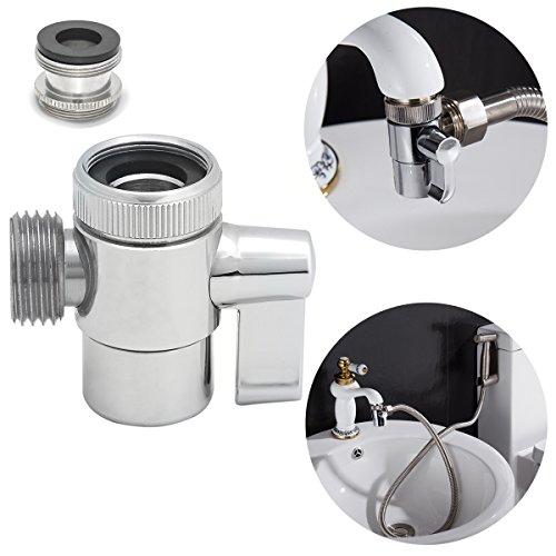 CIENCIA 3 Wege Diverter Ventil Messing Wasserhahn Umschaltventil mit M22 zu M24 Wasserhahn Adapter, Wasserhahn Ersatzteile, SBA021