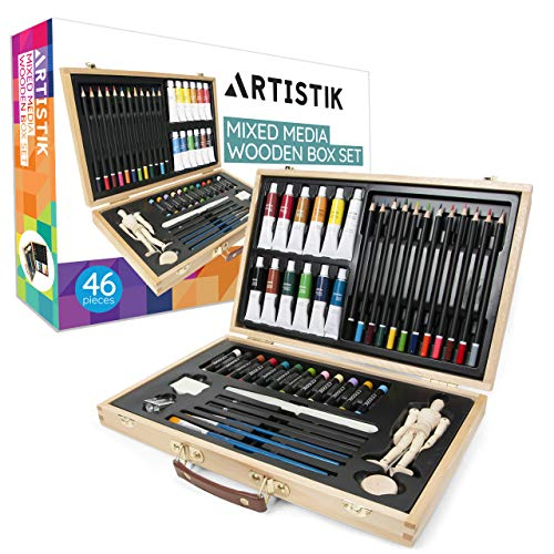 Art Set with Wooden Storage Case - 42 Piece Artist Supplies Set with Mannequin, Acrylic Paints, Oil Pastels, Coloured Pencils & More, Perfect for Drawing, Sketching, Painting for Beginners & Artists