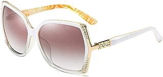 LUKEEXIN Women's Fashion Trend Diamond Glasses, Large Frame Polarized Sunglasses (Color : Beige)