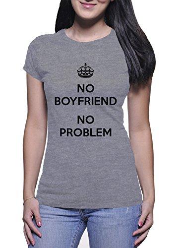 No Boyfriend No Problem Crown Damen Grey T-Shirt - X-Large