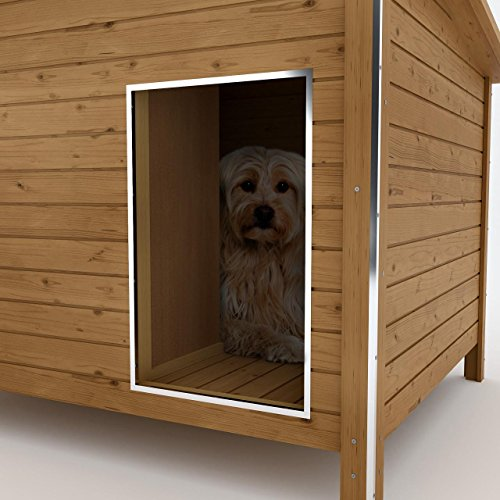 Happypet® Hundehütte DK150-2 wetterfest, isoliert mit Windfang aus Massivholz 150 x 95 x 95 cm - 5