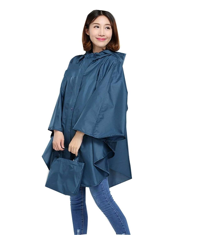 ポンチョレインコート レインコート大人の再利用可能なレインコートレインウェアファッションマント付きフードポータブル防水通気性トラベルポンチョユニセックス大人用 (色 : 青)