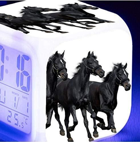 shiyueNB Reloj Despertador Digital LED Luminoso de 7 Colores Caballo Corriendo Reloj Despertador para niños Regalo de cumpleaños Reloj Despertador Vintage Multifuncional Gris