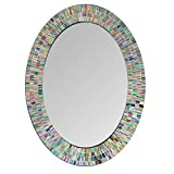 Bohemian Rainbow Rhapsody Wall Mirror -Glass Mosaic Decorative Wall Mirror, Multi Color Spectrum Wall Mountable, 24' Multi-Color Framed Mirror (32 in. X 24 in. Oval)