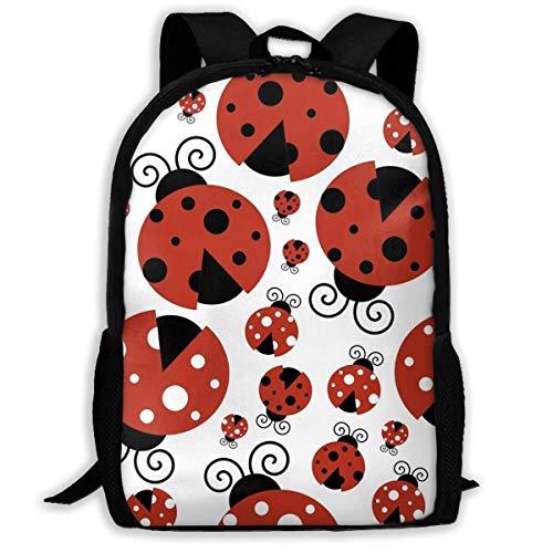 Mochilas para Adultos Ladybug Cartoon School Bag Travel Daypack Bolsa de Hombro