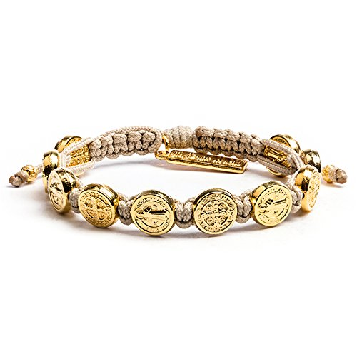 My Saint My Hero Benedictine Blessing Bracelet - Tan/Gold