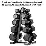 PAPABABE Dumbbells Rubber Encased Hex Dumbbell Free Weights Dumbbells Set with Rack Man Women Home Weight Set Dumbbell with Stand (5 Pairs of Dumbbells in 5 8 10 12 20 LB Dumbbell with Dumbbell Rack)
