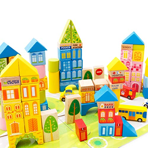 Buy Discount LXWM Wooden Building Blocks Urban Traffic Scene Cognitive Multi-Functional Cognitive Sh...