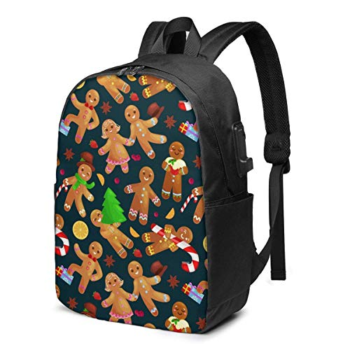 XCNGG Christmas Sweet Chocolate Gingerbread Man Travel Laptop Backpack College School Bag Casual Daypack with USB Charging Port