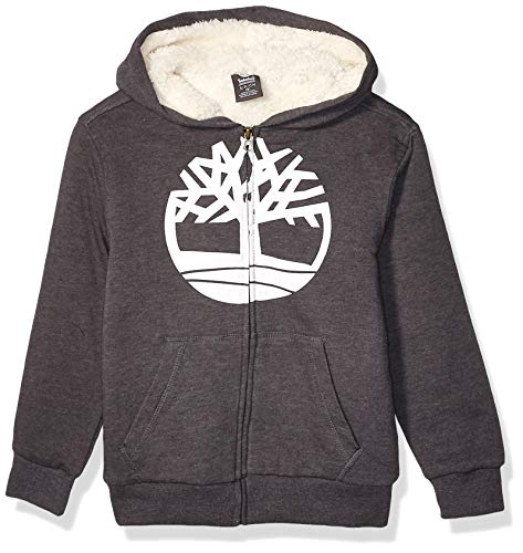 Timberland Jungen Sherpa Lined Fleece Full Zip Hoodie Kapuzenpulli, Kohle Heather, Groß
