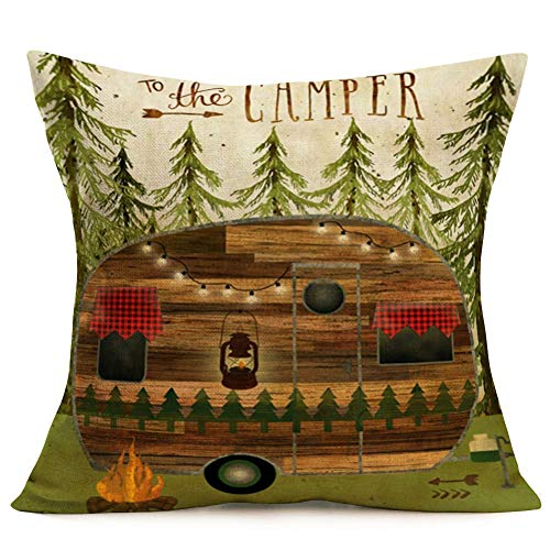 Aremetop Throw Pillow Covers Camp in The Forest Vintage Wood RV Travel Car Home Decorative Pillowcases Cotton Linen Cushion Cover 18''x18'' Square Throw Waist Pillow Case, Best Gift to The Camper