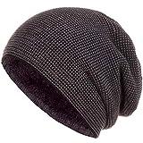 Faera warm gefütterte Beanie Wintermütze Strick-Mütze Fleece-Futter Herren Damen Mütze Haube Einheitsgröße, Farbe:Schwarz