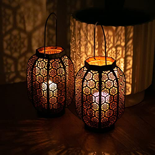 Large Moroccan Lantern Decorative Set of 2. Candle Lantern Decorative Moroccan. Outdoor Candle Lantern Set. Moroccan Lantern Candle. Black/ Copper 11x7x7