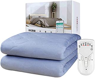Yl Electric Blanket, Non-Woven Blue Smart WiFi Timing Appointment Independent Temperature Control Electric Blanket Home, 180150Cm Double