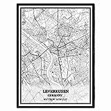 Leverkusen Deutschland Karte Wandkunst Leinwand drucken