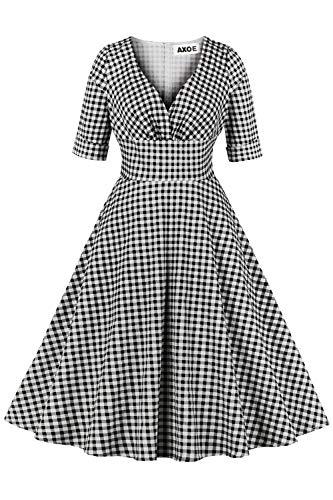 AXOE Damen Pin up Rockabilly Kleid 60er Jahre Retrokleider Kariert Langarm Gr.38, M