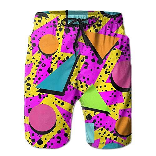 Vintage 80s Memphis Men's Summer Surf Swim Trunks Beach Shorts Pants Quick Dry with Pockets,L