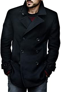 Taoliyuan Mens Woolen Pea Coat Double Breasted Stand Collar Overcoat Winter Trench Coat