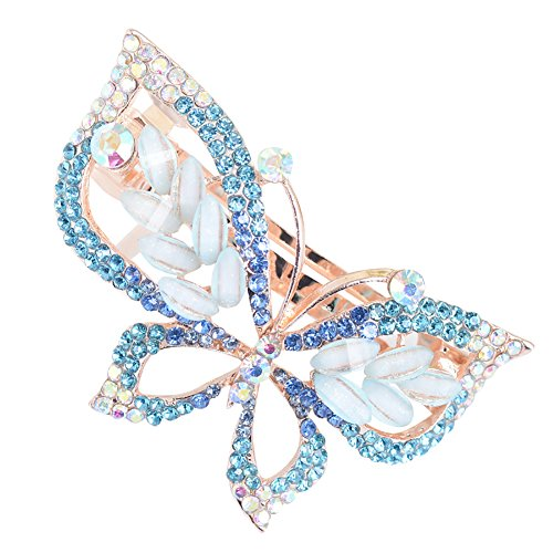 dontdo Pince à cheveux tendance en forme de papillon avec strass incrustés pour femme Bleu