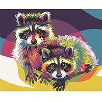 DIYデジタルオイルペインティング40 * 50CMランドスケープアニマルデジタルカラーリングオイルペインティングキャンバスの油絵 大人の子供のためのギフト 数字キットでペイント ホームデコレーション - フ (10)