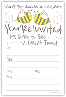 Cute Bumble Bee Invitations (20 Count) with Envelopes - Baby Shower or Birthday Party