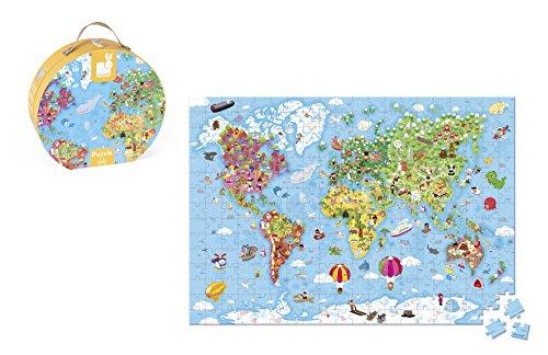 Janod-08502775 Maleta Puzzle Gigante Mapa Mundo, 300