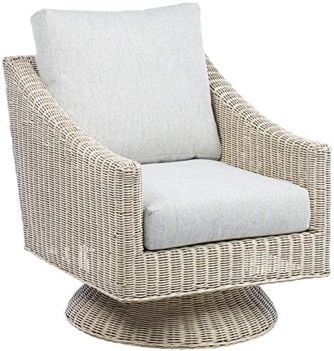 Desser Swivel Chair Living Room Conservatory Furniture – Natural Cane Rattan Armchair with Wicker Weave in Natural Wash Finish – 360° Swivel with UK Made Cushions in Pebble – H89cm x W71cm x D88cm