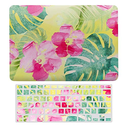 Plastic Hard Shell Case & Keyboard Cover Compatible with MacBook Air 13 (Models: A1466、A1369), Tropical Leaves And Hibiscus Flowers Watercolor Laptop Keyboard Membrane Protective Shell Set