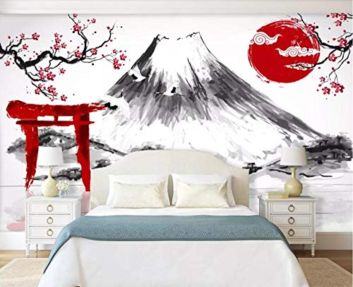 Papier Peint 3D Grue De Prune Mt Fuji Japonaise Abstraite En Noir Et Blanc Papier Peint Intissé Décoration Murale,200cmX140cm