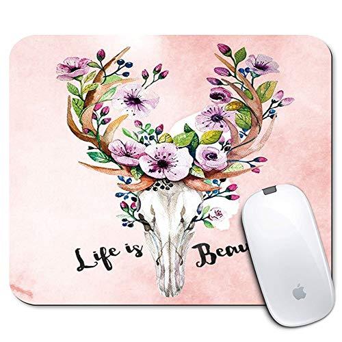 Mauspad - Premium Rectangle Textured Mouse Mats Pads / Personalisiertes rutschfestes Mauspad für die Büroarbeit Nach Hause reisen (Hirschelchblume Kuhschädel Motivierendes Zitat)