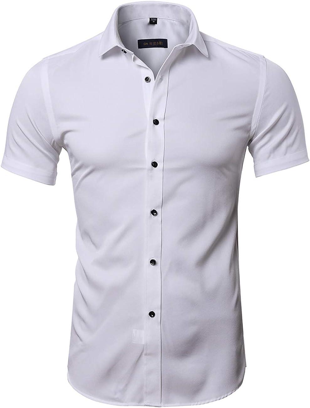 Camisa Bambú Fibra Hombre, Manga Corta, Slim Fit, Camiseta Elástica Casual/Formal para Hombre