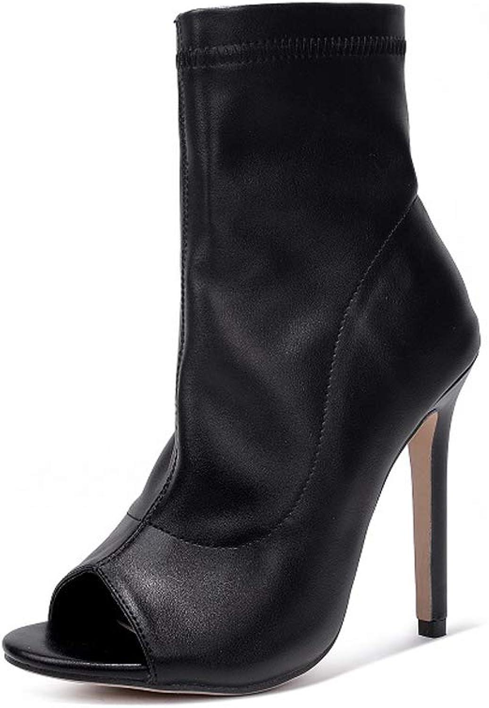 Fashion Wild Black Fish Mouth Roman Boots Ultra High Heel Women's shoes Women's Sandals