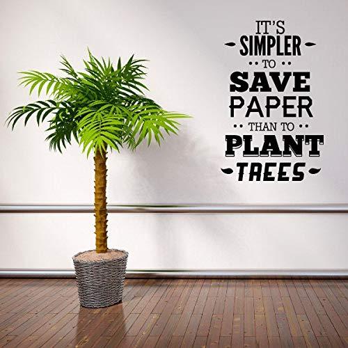 Het is eenvoudiger om papier te besparen dan planten bomen aarde citeren muursticker - Vinyl Decal - auto Decal - Id002 gemakkelijk aan te brengen en verwijderbaar