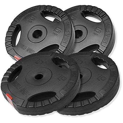 GORILLA SPORTS® Hantelscheiben-Set 30 kg Kunstoff Gripper – 2 x 5 kg, 2 x 10 kg Gewichte mit 30/31 mm Bohrung